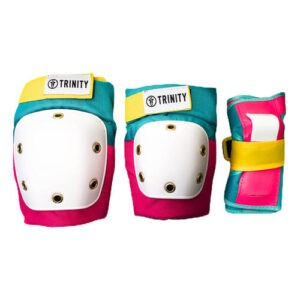 Trinity teal/pink/yellow youth/adult knee-elbow wrist guards